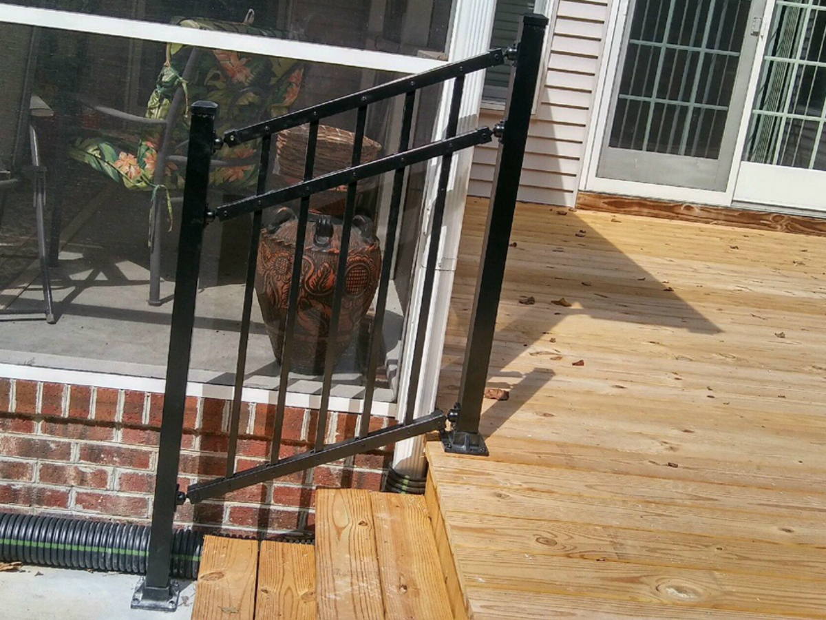 217_step-railing-black-aluminum-bonilla-flush Railings - Forrest Fencing