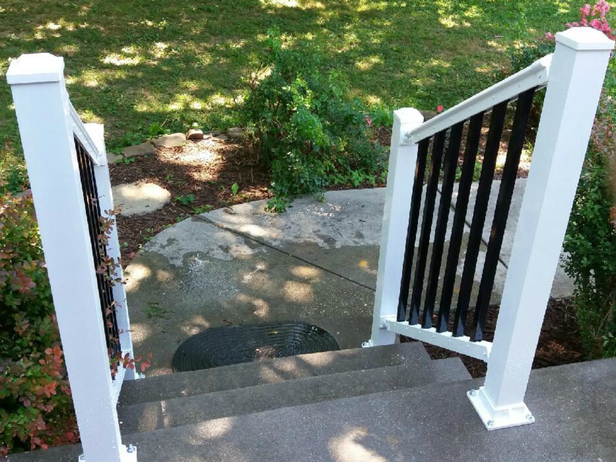 252_white-railing-black1 Railings - Forrest Fencing