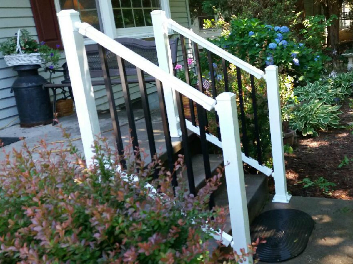 253_white-railing-black2 Railings - Forrest Fencing