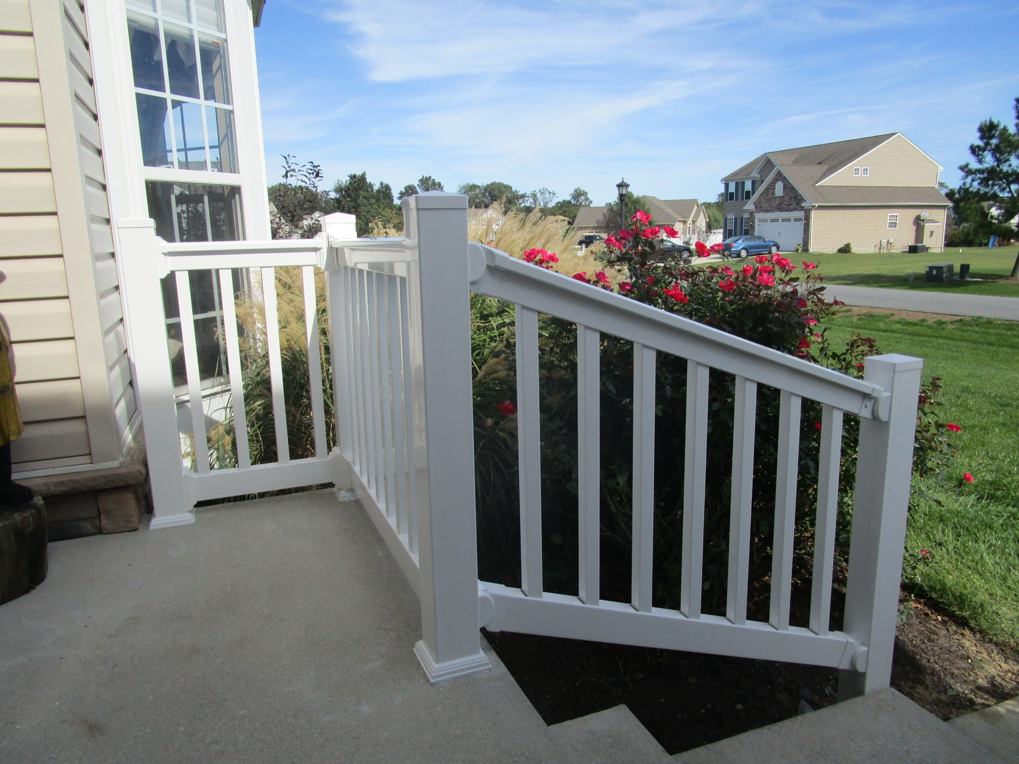 58_white-vinyl-porch-and-stair-railing Railings - Forrest Fencing